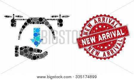 Mosaic Unload Drone And Grunge Stamp Seal With New Arrival Text. Mosaic Vector Is Created With Unloa
