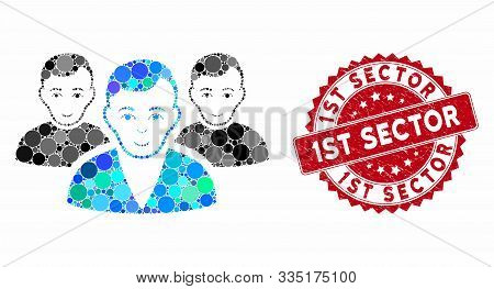 Mosaic User Group And Rubber Stamp Seal With 1st Sector Phrase. Mosaic Vector Is Designed With User