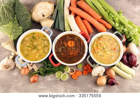 Set Of Soups From Worldwide Cuisines, Healthy Food. Broth With Noodles, Beef Soup And Broth With Mar
