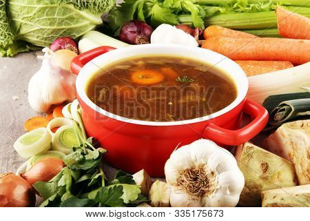Meat Stew With Beef, Potato, Carrot, Onion, Spices, Green Peas. Slow Cooked Meat Stew, Bowl. Hot Aut