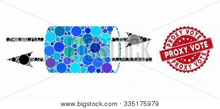 Mosaic Vpn Pipe And Distressed Stamp Seal With Proxy Vote Caption. Mosaic Vector Is Composed With Vp