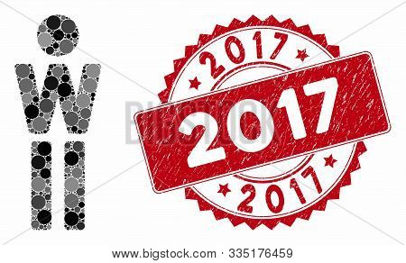 Mosaic Woman And Rubber Stamp Seal With 2017 Caption. Mosaic Vector Is Designed From Woman Icon And