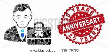 Mosaic Yuan Renminbi Accounter And Distressed Stamp Seal With 25 Years Anniversary Caption. Mosaic V