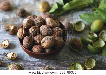 Selective Focus. Walnuts In A Bowl. The Leaves Of The Walnut Tree. Walnuts In A Green Peel. Harvest