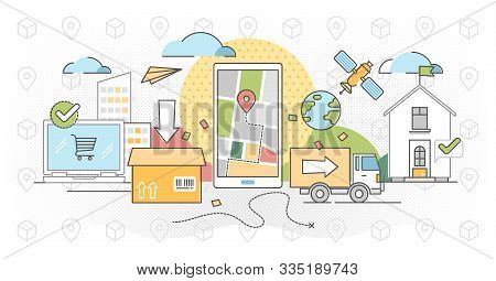 Order Tracking Outline Concept Vector Illustration. Logistics Distribution Live Location Service. Gl
