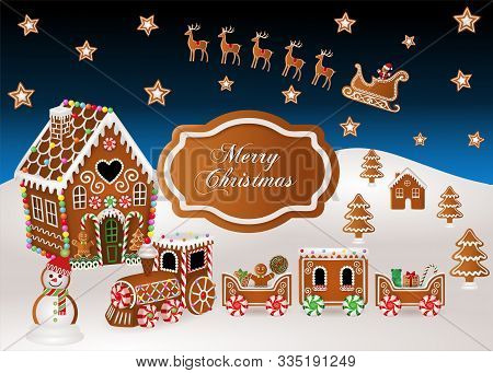 Christmas Background With Gingerbread House, Gingerbread Train,  Gingerbread Sled And Christmas Cand