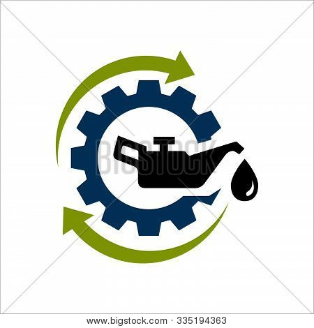 Oil Change Icon Logo Vector. Silhouette Of Oil Canister Bottle Gear And Circle Arrow .symbol For Aut