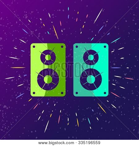 Sound Speaker Icon Singing Loudly With Rays. Music Sound Box Sign For Club Party, Trampoline Park, D
