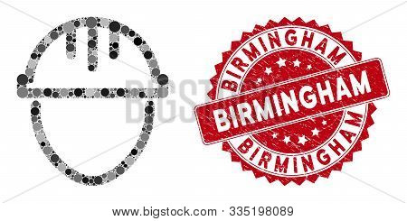 Mosaic Worker And Grunge Stamp Watermark With Birmingham Text. Mosaic Vector Is Composed With Worker