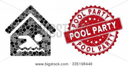 Mosaic Indoor Water Pool And Distressed Stamp Seal With Pool Party Text. Mosaic Vector Is Created Wi