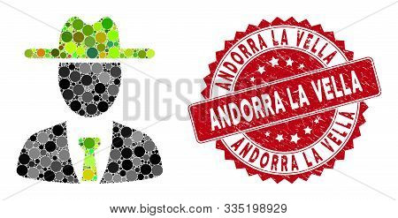 Mosaic Farmer Boss And Grunge Stamp Seal With Andorra La Vella Caption. Mosaic Vector Is Composed Fr