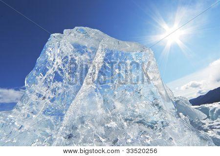 Piece Of Ice And The Sun On Winter Lake Baikal