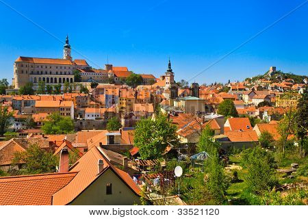 Mikulov (Nikolsburg) castle and town in South Moravia Czech Republic poster