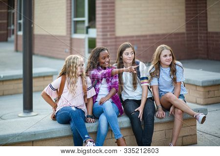 Candid photo of a group of teenage girls socializing, laughing and talking together at school. A multi-ethnic group of real junior high aged students sitting outside a school building