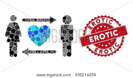 Mosaic People Exchange Heart And Distressed Stamp Seal With Erotic Caption. Mosaic Vector Is Compose