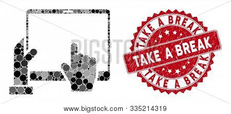 Mosaic Hand Points Pda And Distressed Stamp Seal With Take A Break Phrase. Mosaic Vector Is Created