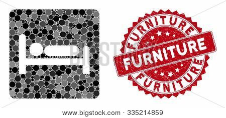 Mosaic Motel Bed And Rubber Stamp Seal With Furniture Caption. Mosaic Vector Is Formed With Motel Be