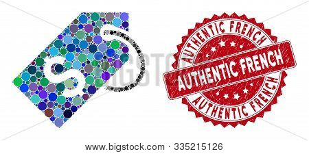 Mosaic Price Tag And Grunge Stamp Seal With Authentic French Text. Mosaic Vector Is Composed With Pr