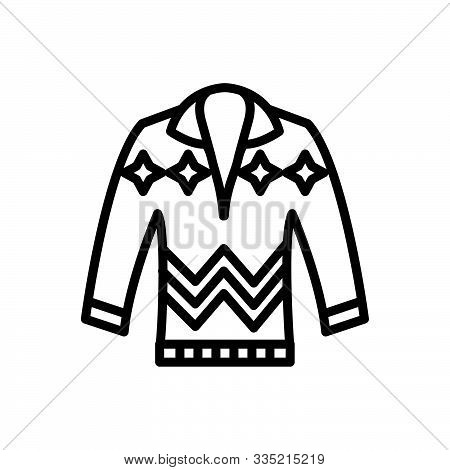 Black Line Icon For Pullove Sweater Jumper Cardigan Dress