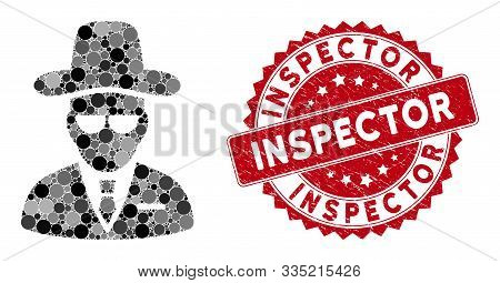 Mosaic Agent And Rubber Stamp Seal With Inspector Text. Mosaic Vector Is Composed With Agent Icon An
