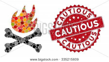 Mosaic Bones Hell Fire And Rubber Stamp Watermark With Cautious Text. Mosaic Vector Is Created With