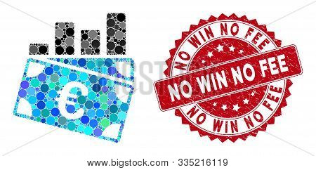 Mosaic Euro Sales Chart And Rubber Stamp Watermark With No Win No Fee Caption. Mosaic Vector Is Desi