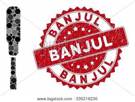 Collage Screwdriver And Grunge Stamp Seal With Banjul Phrase. Mosaic Vector Is Formed With Screwdriv