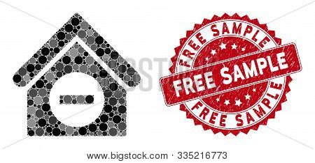 Collage Deduct Building And Distressed Stamp Seal With Free Sample Text. Mosaic Vector Is Formed Wit