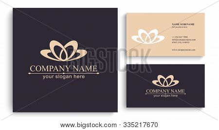 Lotus Logo. Flower Icon Abstract Design Vector Template Business Card. Lotus Spa Icon. Logo For Spa,