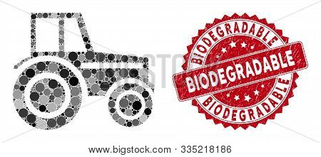 Mosaic Wheeled Tractor And Rubber Stamp Seal With Biodegradable Phrase. Mosaic Vector Is Designed Fr