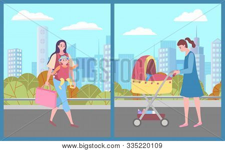 Mom And Kid In City Vector, Female Character Carrying Baby And Bags Flat Style. Woman Pushing Peramb