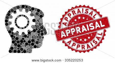Mosaic Intellect Gear And Rubber Stamp Watermark With Appraisal Caption. Mosaic Vector Is Composed W