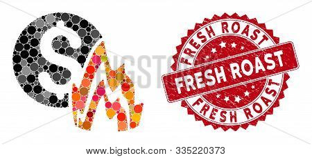 Collage Fire Disaster Price And Grunge Stamp Seal With Fresh Roast Phrase. Mosaic Vector Is Formed W
