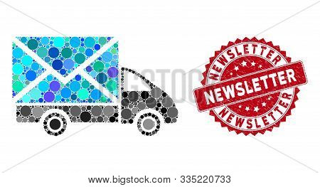 Collage Mail Delivery Car And Rubber Stamp Seal With Newsletter Text. Mosaic Vector Is Designed With