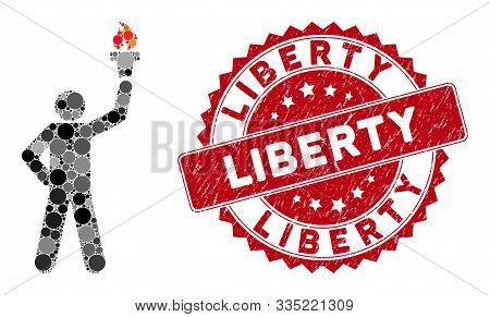 Mosaic Leader With Freedom Torch And Distressed Stamp Seal With Liberty Phrase. Mosaic Vector Is Cre