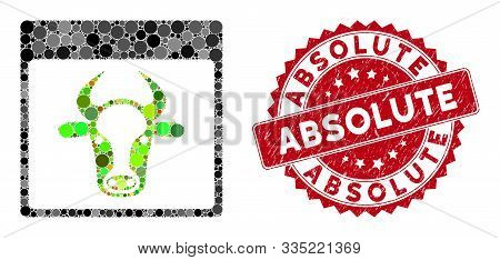 Mosaic Cow Page And Distressed Stamp Seal With Absolute Text. Mosaic Vector Is Composed With Cow Pag