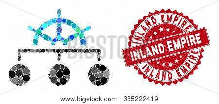 Mosaic Rule Structure And Corroded Stamp Seal With Inland Empire Phrase. Mosaic Vector Is Formed Wit