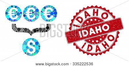 Mosaic Euro Dollar Conversion Aggregator And Corroded Stamp Seal With Idaho Caption. Mosaic Vector I