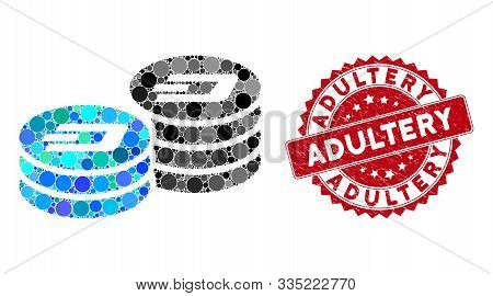 Mosaic Dash Coin Columns And Corroded Stamp Watermark With Adultery Phrase. Mosaic Vector Is Formed