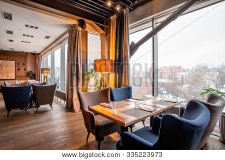 Nizhny Novgorod, Russia - November 09 2018. Gauchobarbq And Grill. Restaurant Interior. Steak House,