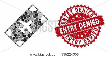 Mosaic Boarding Pass And Rubber Stamp Seal With Entry Denied Phrase. Mosaic Vector Is Created With B