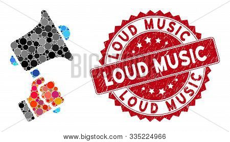 Mosaic Ads Horn And Corroded Stamp Seal With Loud Music Text. Mosaic Vector Is Formed With Ads Horn