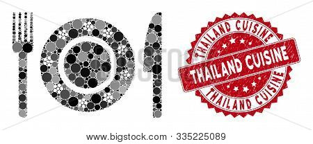 Mosaic Restaurant Tableware And Corroded Stamp Seal With Thailand Cuisine Phrase. Mosaic Vector Is C