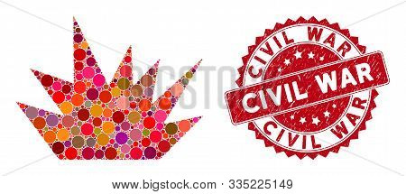 Mosaic Boom Explosion And Rubber Stamp Watermark With Civil War Caption. Mosaic Vector Is Created Wi