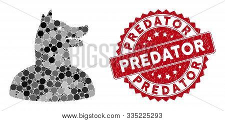 Mosaic Man Dog And Corroded Stamp Seal With Predator Caption. Mosaic Vector Is Created With Man Dog