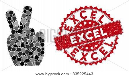 Mosaic Victory Gesture And Corroded Stamp Seal With Excel Phrase. Mosaic Vector Is Created With Vict