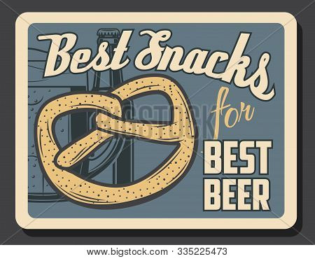 Beer And Pretzel Snack, Oktoberfest Beer Festival And Brewery Pub And Bar Vintage Retro Poster. Vect
