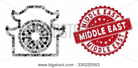 Mosaic Pagoda And Grunge Stamp Seal With Middle East Phrase. Mosaic Vector Is Formed From Pagoda Ico