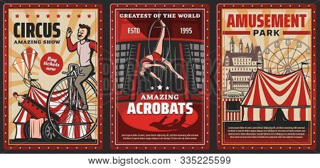 Circus Show Of Acrobats Vector Design Of Carnival Or Amusement Park Retro Posters. Circus Top Tents