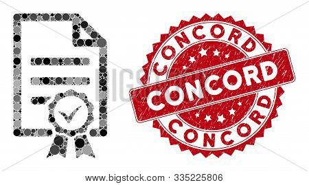Mosaic Contract Document And Grunge Stamp Seal With Concord Text. Mosaic Vector Is Composed With Con